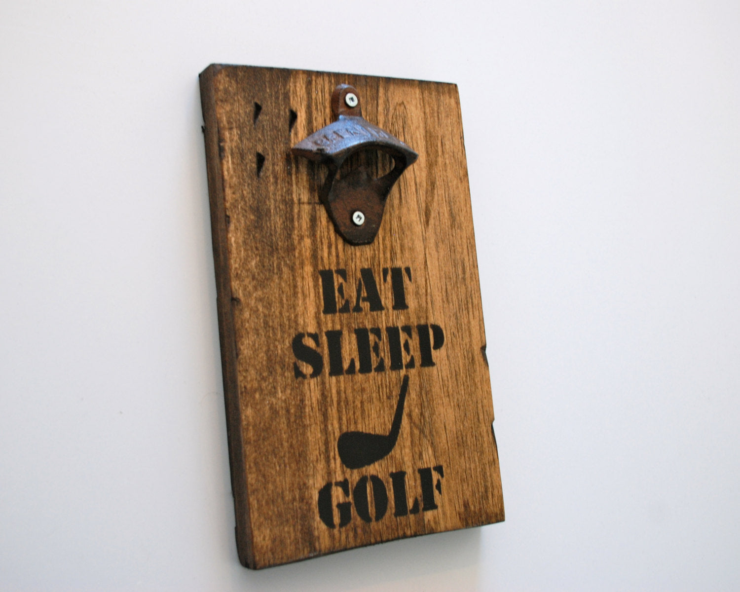 Eat Sleep Golf Wall Mount Rustic Bottle Opener
