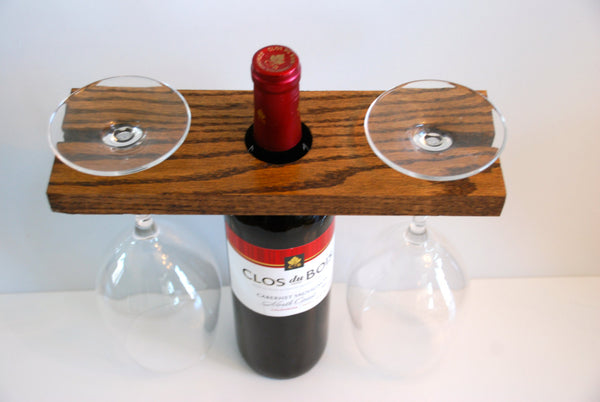 Rustic Oak Wine Display + Oak Wine Bottle & Glass Display (both items) - Mothers Day Gift, Gift for Mom, Mother in Law Gift, Sister Gift