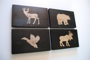 Rustic Forest Animal Wood Wall Decor Sign, Matte Black, Set of 4