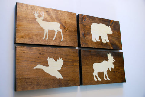 Rustic Forest Animal Wood Wall Decor Sign, Set of 4