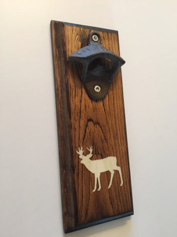 Deer Wildlife Rustic Wall Mounted Rustic Bottle Opener, Matte White