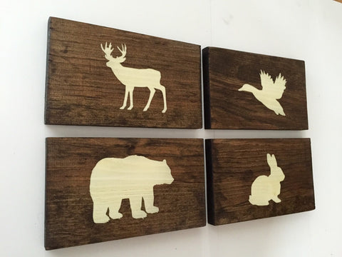 Rustic Forest Animal Wood Wall Decor Sign, Set of 4 - Mothers Day Gift, Gift for Moms, Sister Gift, Mother in Law Gift
