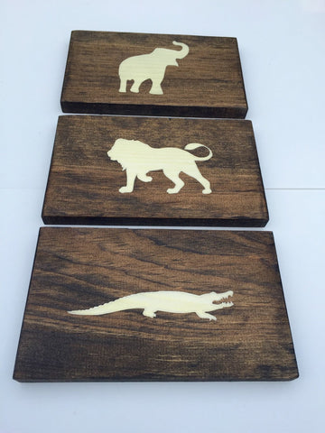 Rustic Jungle Animal Wood Wall Decor Sign, Set of 3