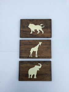Rustic Safari Animal Wood Wall Decor Sign, Set of 3