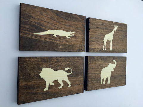 Rustic Safari Animal Wood Wall Decor Sign, Set of 4
