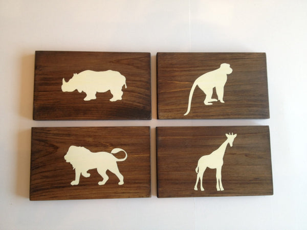 Rustic Jungle Animal Wood Wall Decor Sign, Set of 4