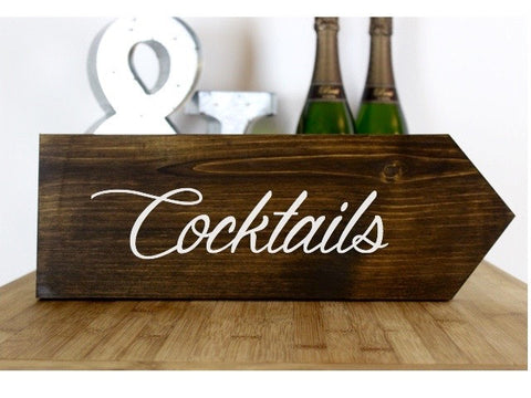 Cocktails Rustic Wedding Sign, Wedding Ceremony This Way, Ceremony Direction Sign, Rustic Wedding Decor