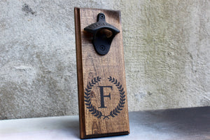 Personalized Wall Mounted Bottle Opener with Initial and Laurel