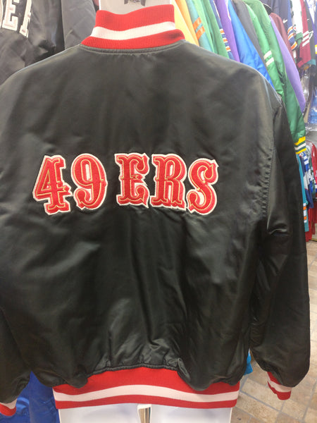 Vtg 90s SAN FRANCISCO 49ers NFL Back Patch Starter Black Jacket L