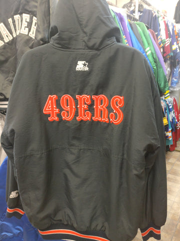 Vintage 90s SAN FRANCISCO 49ers NFL Back Patch Starter Hooded Jacket L
