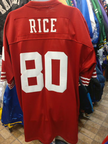 Vintage '90 #80 JERRY RICE S F 49ers NFL Mitchell & Ness Jersey 56