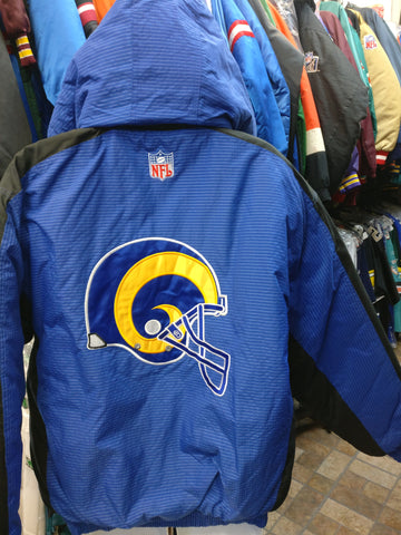 Vtg 90s LOS ANGELES RAMS NFL Back Patch Logo Athletic Nylon Jacket L