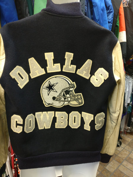 Vintage 80s DALLAS COWBOYS NFL Back Patch Chalk Line Varsity Jacket S