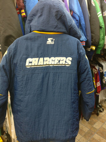 Vtg 90s SAN DIEGO CHARGERS NFL Starter Back Patch Hooded Jacket M