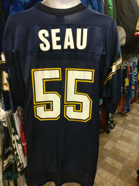 d2ed4854 Vintage #55 JUNIOR SEAU San Diego Chargers NFL Champion Jersey 52