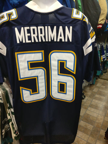 Vtg#56SHAWNE MERRIMAN San Diego Chargers NFL Reebok Authentic Jersey50