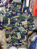 Vintage MICHIGAN WOLVERINES NCAA Reyn Spooner Rayon Hawaiian Shirt M