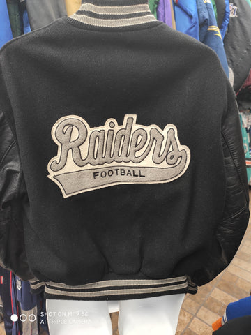 Vtg 80s LOS ANGELES RAIDERS NFL DeLong Back Patch Varsity Jacket 44