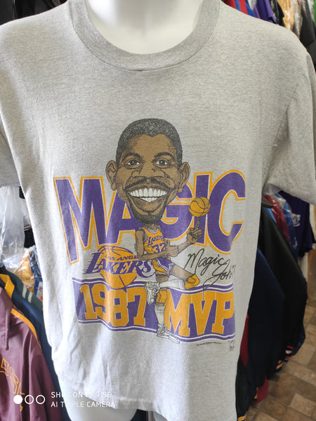 Vtg 80s #32 MAGIC JOHNSON Los Angeles Lakers NBA Caricature T-Shirt L