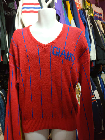 Vintage 80s NEW YORK GIANTS Cliff Engle NFL Pinstripe Sweater L - #XL3VintageClothing