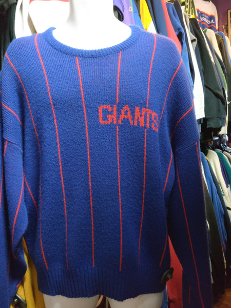 Vintage 80s NEW YORK GIANTS Cliff Engle NFL Pinstripe Sweater XL - #XL3VintageClothing