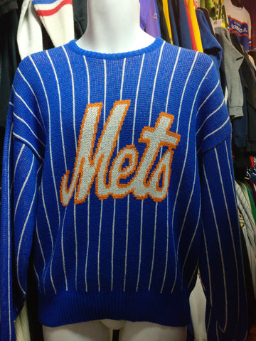 Vintage 80s NEW YORK METS Cliff Engle Pinstripe MLB Sweater M - #XL3VintageClothing