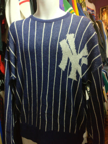 Vintage 80s NEW YORK YANKEES Cliff Engle Pinstripe MLB Sweater M - #XL3VintageClothing