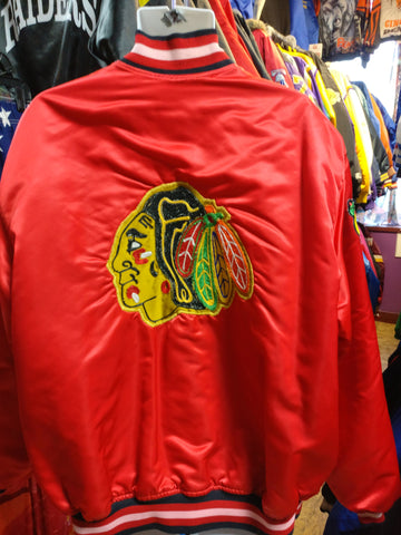 Vintage 80s CHICAGO BLACKHAWKS NHL Back Patch Starter Nylon Jacket 3XL - #XL3VintageClothing