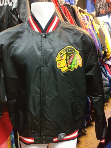 Vintage 80s CHICAGO BLACKHAWKS NHL Starter Black Nylon Jacket L - #XL3VintageClothing
