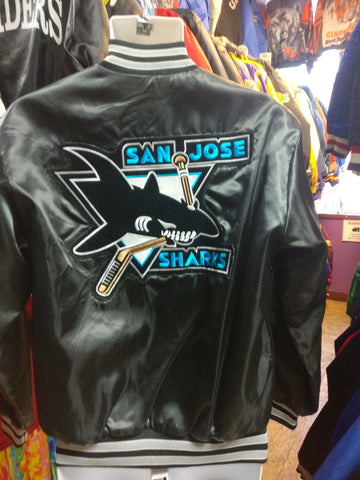 Vintage 80s SAN JOSE SHARKS NHL Back Patch Swingster Nylon Jacket M - #XL3VintageClothing