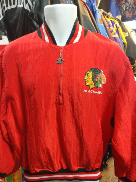 Vintage 80s CHICAGO BLACKHAWKS NHL Starter Windbreaker Pullover Jacket M - #XL3VintageClothing