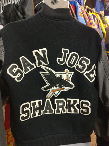 Vintage 80s SAN JOSE SHARKS NHL Back Patch Chalk Line Varsity Jacket M - #XL3VintageClothing