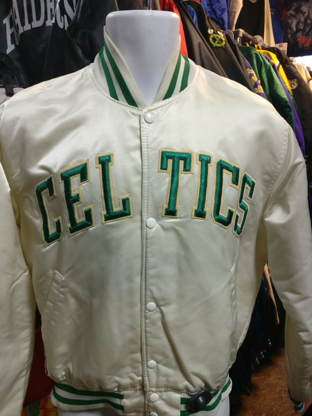 Vintage 80s BOSTON CELTICS NBA White Starter Nylon Jacket M - #XL3VintageClothing