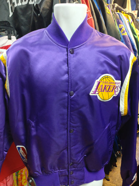 Vintage 80s LOS ANGELES LAKERS NBA Starter Purple Nylon Jacket L - #XL3VintageClothing