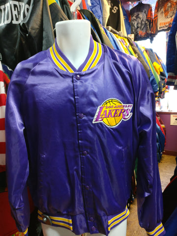 Vintage 80s LOS ANGELES LAKERS NBA Purple Chalk Line Nylon Jacket XL - #XL3VintageClothing