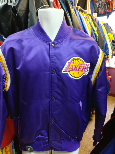 Vintage 80s LOS ANGELES LAKERS NBA Purple Starter Nylon Jacket L - #XL3VintageClothing