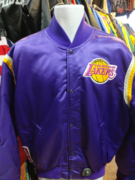 Vintage 80s LOS ANGELES LAKERS NBA Purple Starter Nylon Jacket XL - #XL3VintageClothing