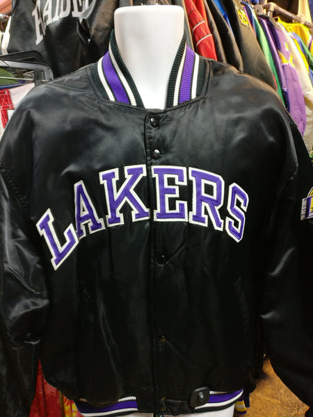 Vintage LOS ANGELES LAKERS NBA Starter Black Nylon Jacket L - #XL3VintageClothing