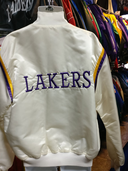Vtg 80s Los Angeles Lakers Nba Back Embroidery White Starter Jacket Xl Xl3 Vintage Clothing