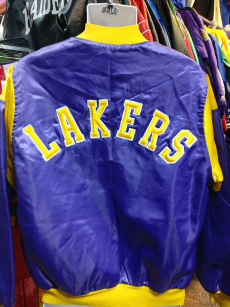 Vtg 80s LOS ANGELES LAKERS NBA Chalk Line Back Patch Nylon Jacket M - #XL3VintageClothing