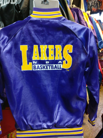 Vtg 80s LOS ANGELES LAKERS NBA Chalk Line Back Print Nylon Jacket18-20 - #XL3VintageClothing