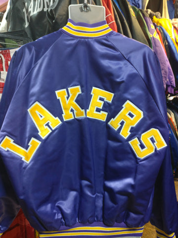 Vintage 80s LOS ANGELES LAKERS NBA Back Patch Chalk Line Nylon Jacket XL - #XL3VintageClothing