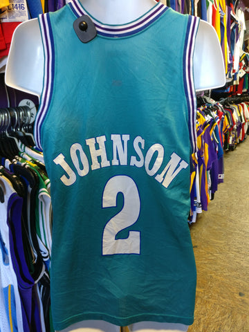 Vintage #2 LARRY JOHNSON Charlotte Hornets NBA Champion Jersey 40 - #XL3VintageClothing