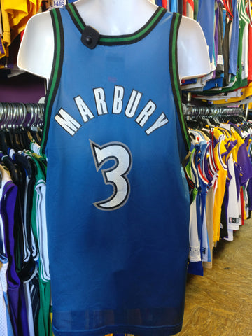 Vtg #3 STEPHON MARBURY Minnesota Timberwolves NBA Champion Jersey 44 - #XL3VintageClothing