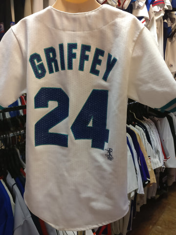 Vintage #24 KEN GRIFFEY JR Seattle Mariners MLB Majestic Jersey YS - #XL3VintageClothing