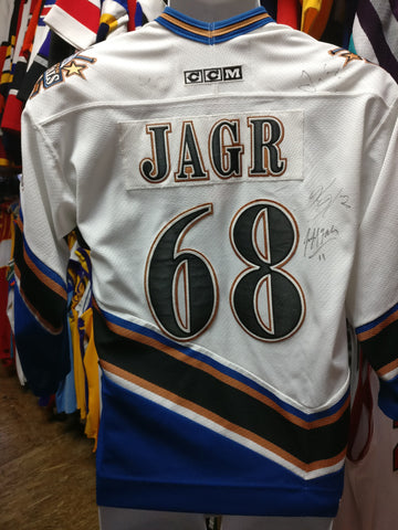 Vtg#68 JAROMIR JAGR Washington Capitals NHL CCM Jersey YL/YXL (Signed) - #XL3VintageClothing