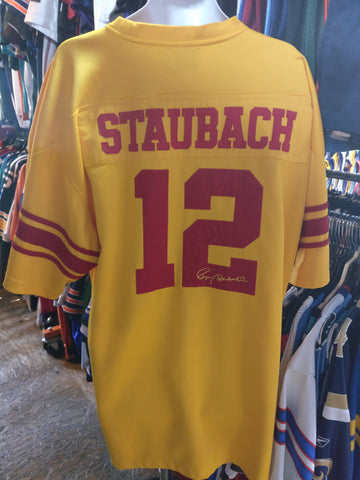 Vtg #12 ROGER STAUBACH Purcell Marian High School Jersey 2XL (Signed) - #XL3VintageClothing