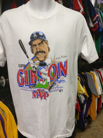 Vtg '88 #23 KIRK GIBSON Los Angeles Dodgers MLB Caricature T-Shirt L - #XL3VintageClothing