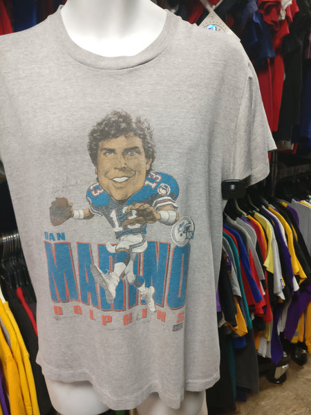 Vintage 80s #13 DAN MARINO Miami Dolphins NFL Caricature T-Shirt M - #XL3VintageClothing