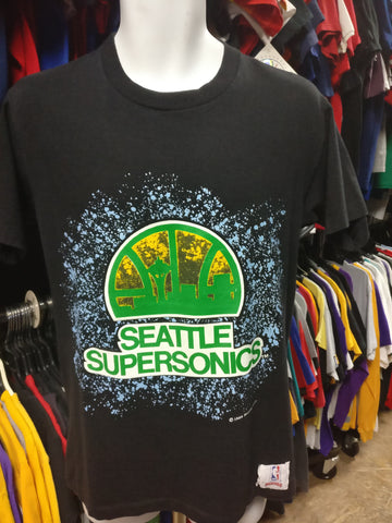 Vintage '89 SEATTLE SUPERSONICS NBA Nutmeg T-Shirt M - #XL3VintageClothing